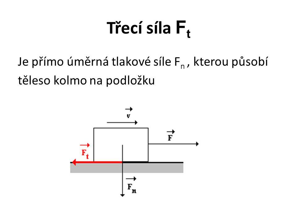 Třecí síla Ft Je přímo úměrná tlakové síle Fn , kterou působí