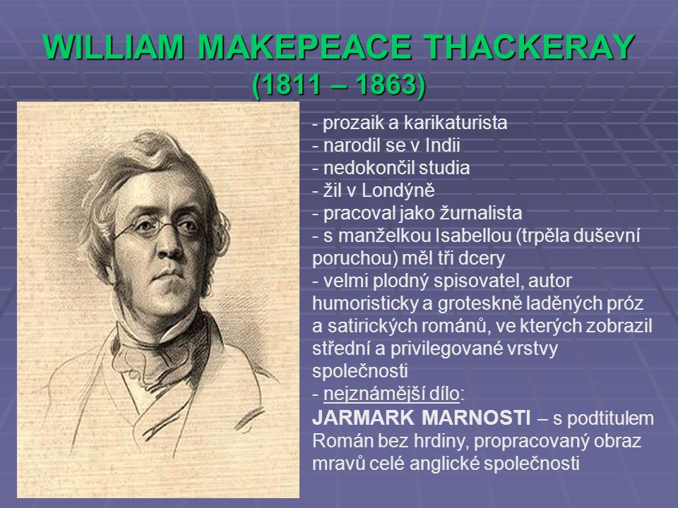 WILLIAM MAKEPEACE THACKERAY (1811 – 1863)