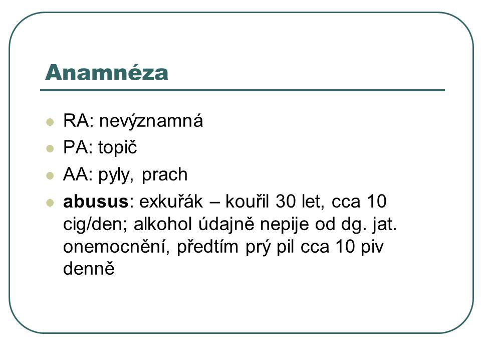 Anamnéza RA: nevýznamná PA: topič AA: pyly, prach