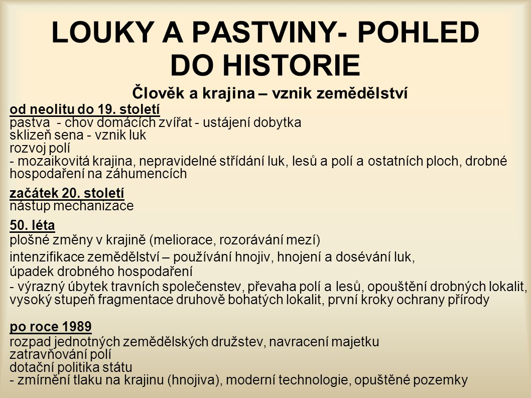 LOUKY A PASTVINY- POHLED DO HISTORIE