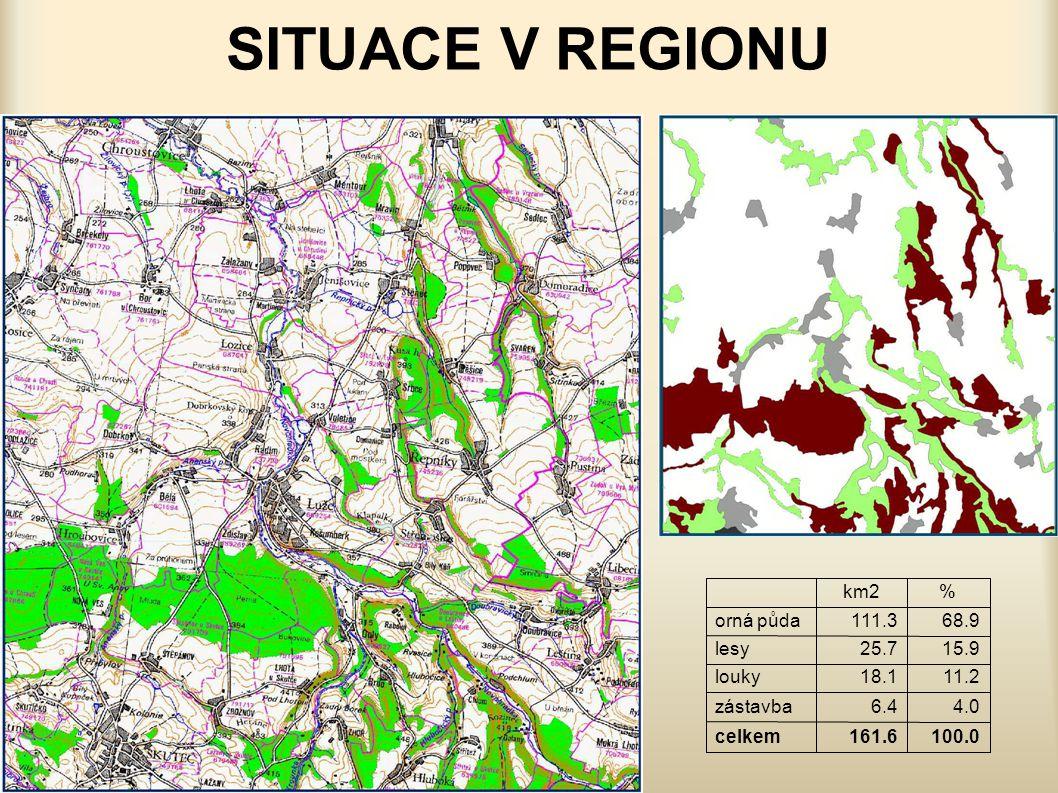 SITUACE V REGIONU 100.0 161.6 celkem 4.0 6.4 zástavba 11.2 18.1 louky