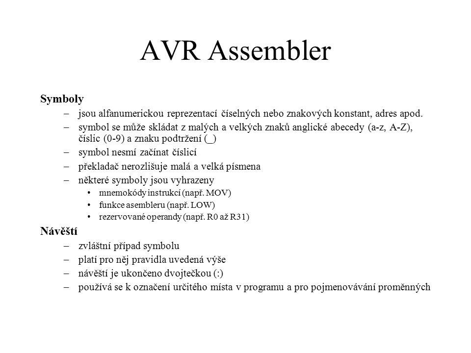 AVR Assembler Symboly Návěští