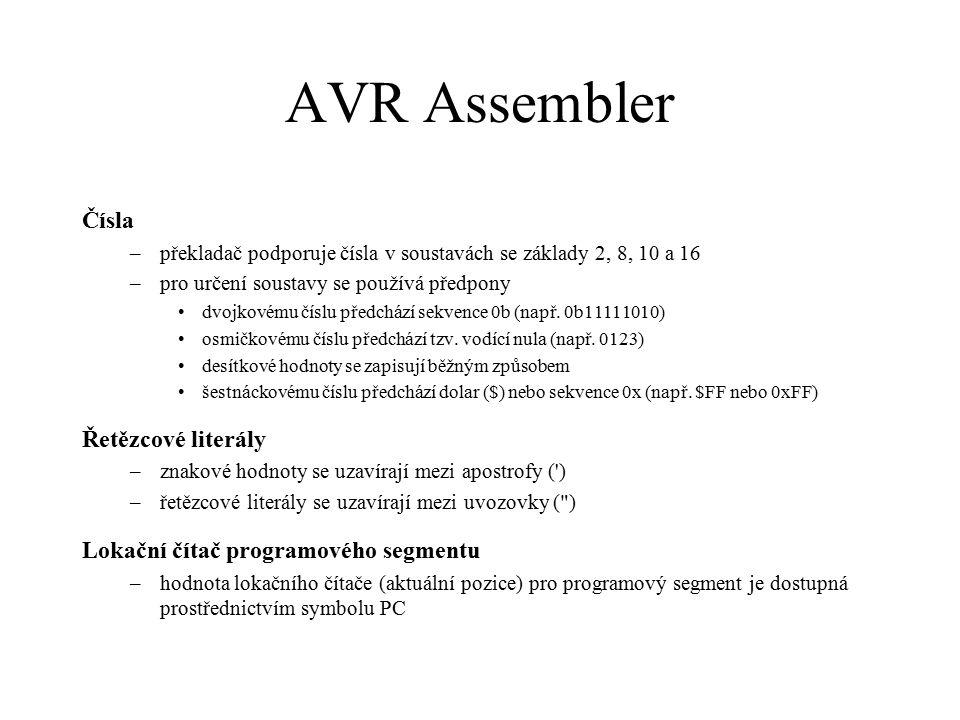 AVR Assembler Čísla Řetězcové literály