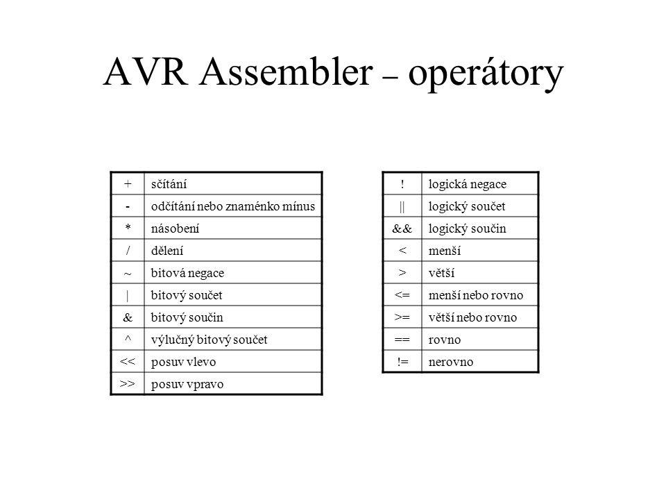 AVR Assembler – operátory