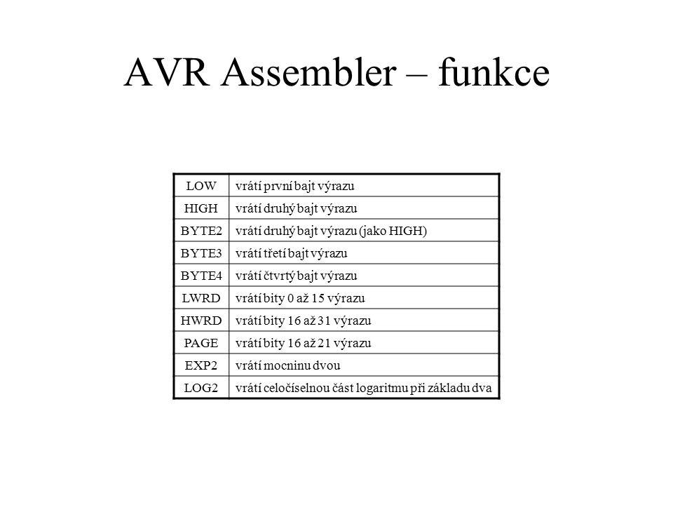 AVR Assembler – funkce LOW vrátí první bajt výrazu HIGH