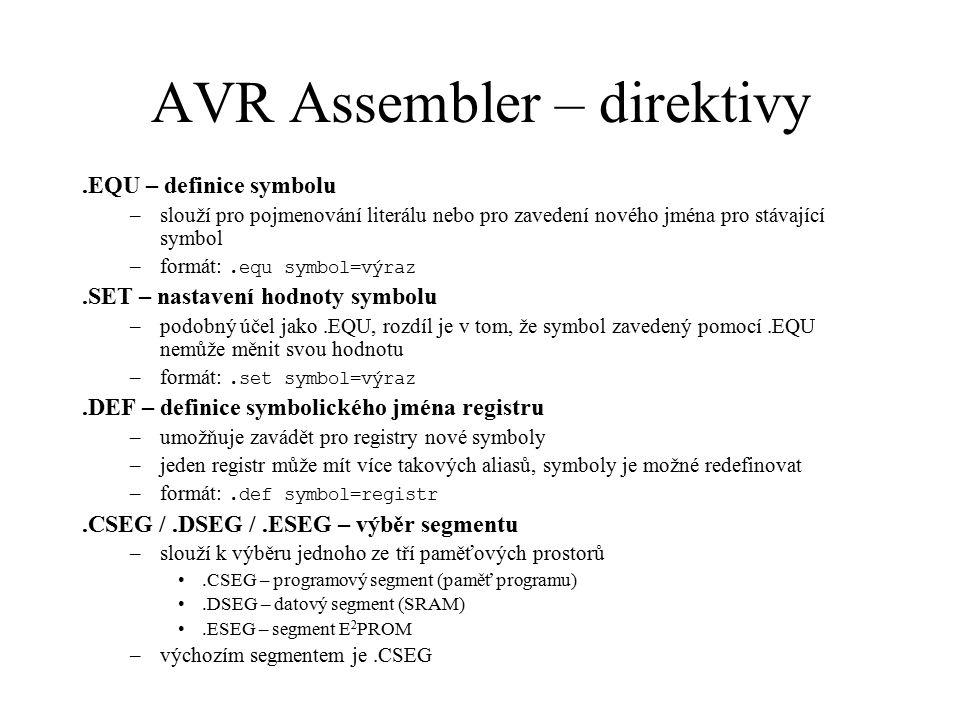 AVR Assembler – direktivy