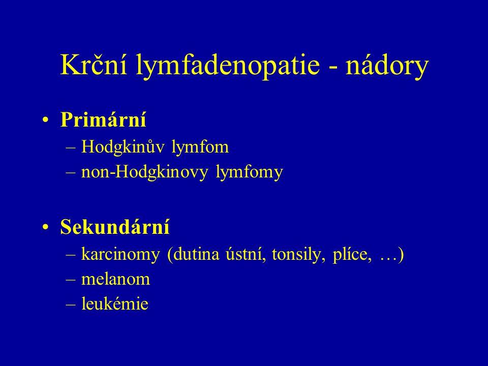 Krční lymfadenopatie - nádory