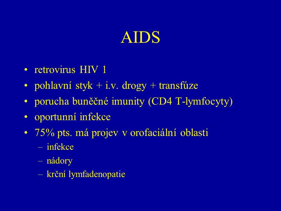 AIDS retrovirus HIV 1 pohlavní styk + i.v. drogy + transfúze