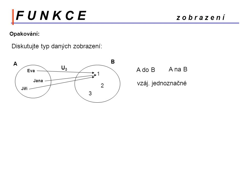 F U N K C E z o b r a z e n í Diskutujte typ daných zobrazení: A do B