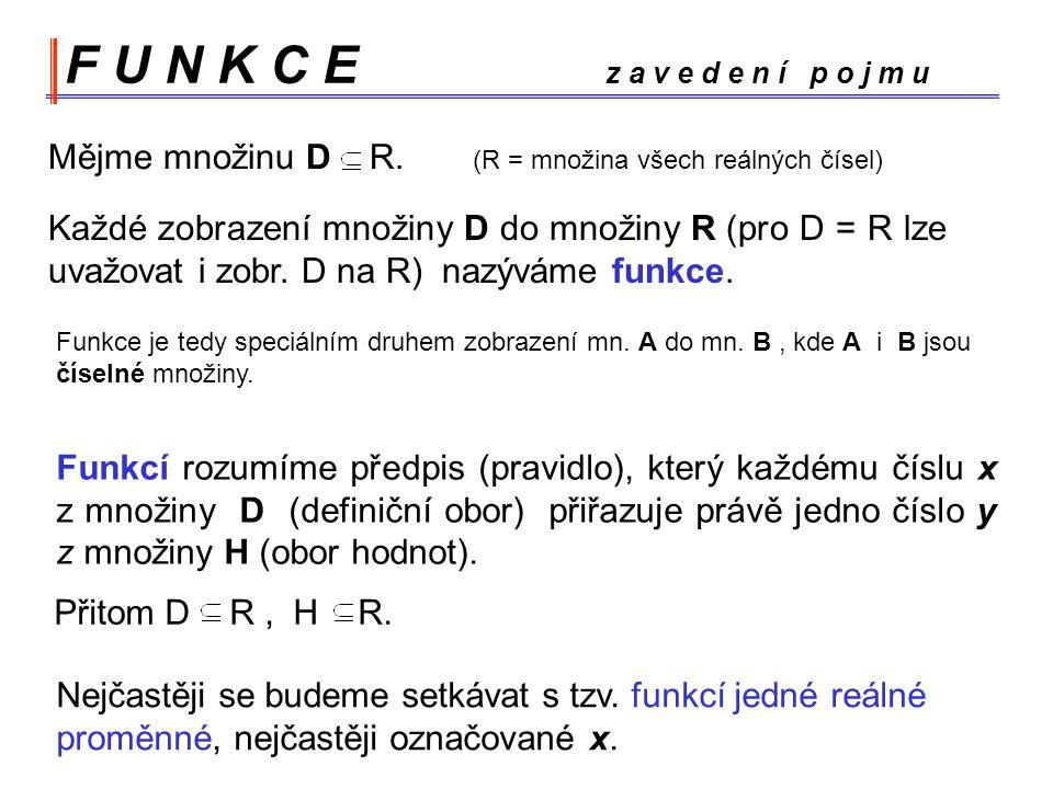 F U N K C E z a v e d e n í p o j m u Mějme množinu D R. (R = množina všech reálných čísel)
