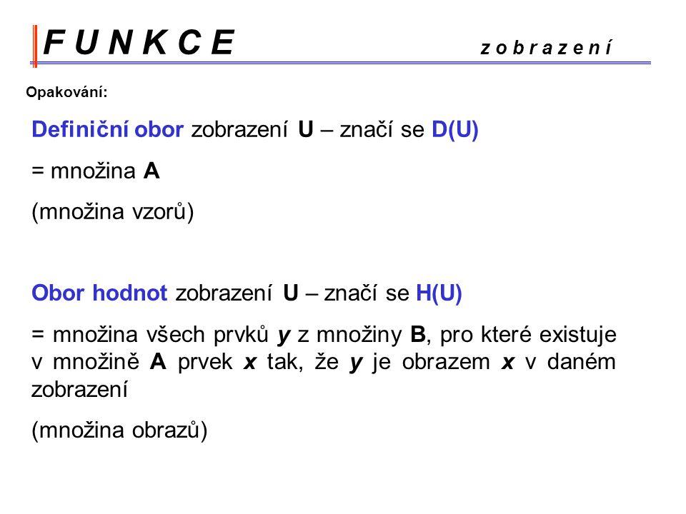 F U N K C E z o b r a z e n í Opakování: Definiční obor zobrazení U – značí se D(U)
