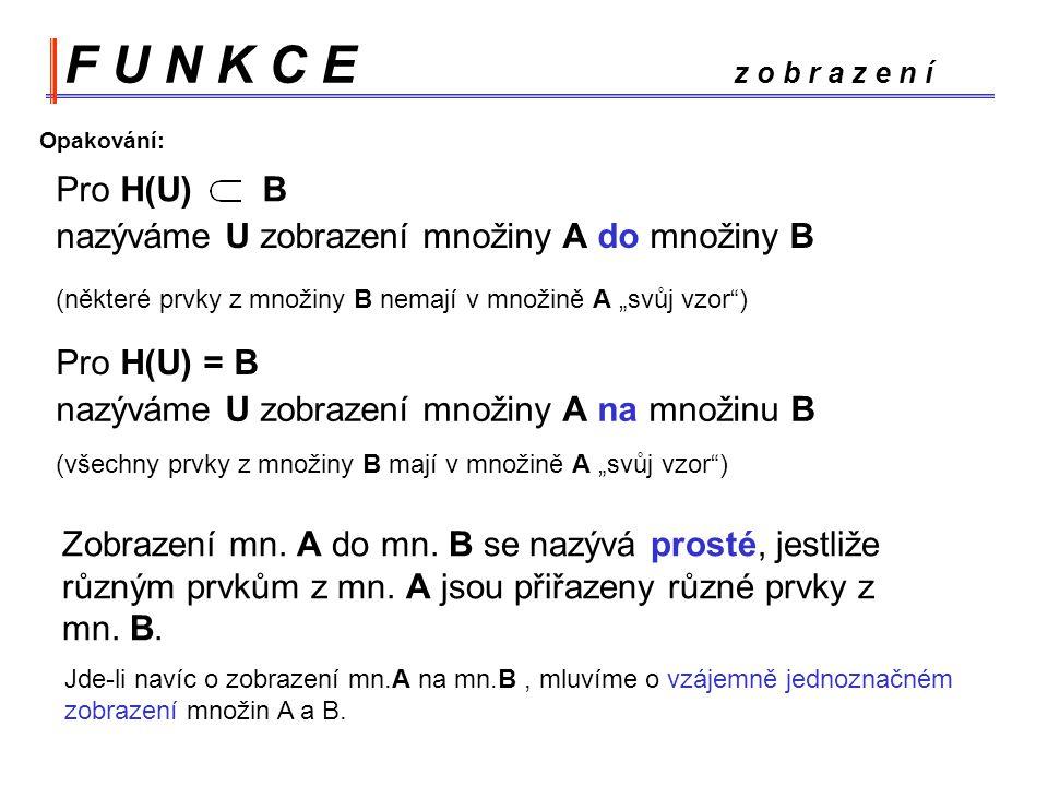 F U N K C E z o b r a z e n í Pro H(U) B