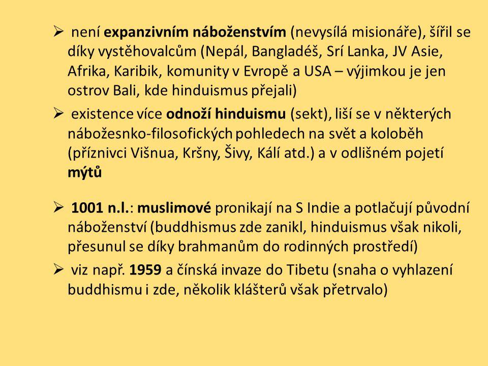 není expanzivním náboženstvím (nevysílá misionáře), šířil se díky vystěhovalcům (Nepál, Bangladéš, Srí Lanka, JV Asie, Afrika, Karibik, komunity v Evropě a USA – výjimkou je jen ostrov Bali, kde hinduismus přejali)