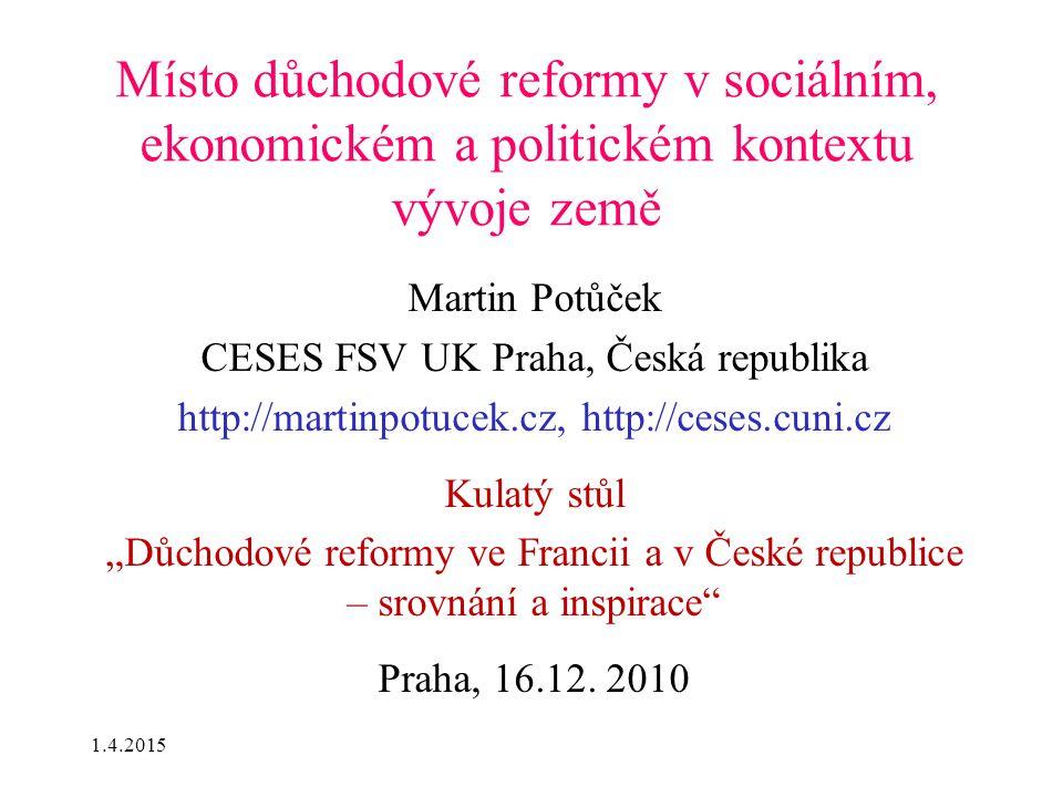 Místo důchodové reformy v sociálním, ekonomickém a politickém kontextu vývoje země