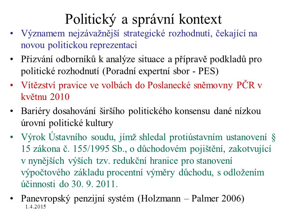 Politický a správní kontext