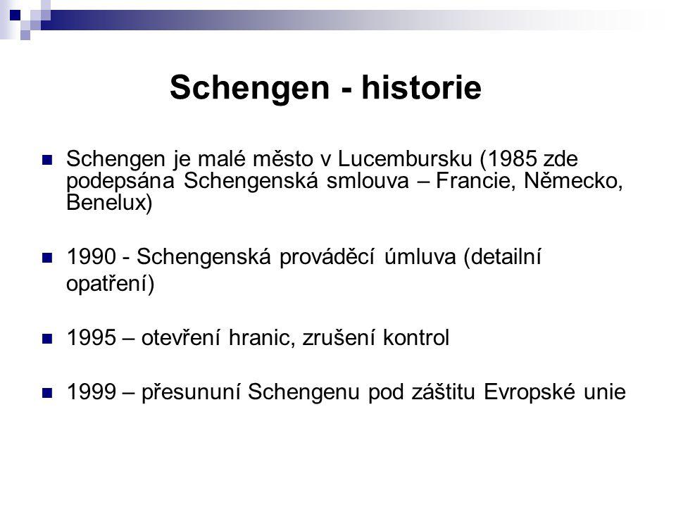 Schengen - historie Schengen je malé město v Lucembursku (1985 zde podepsána Schengenská smlouva – Francie, Německo, Benelux)