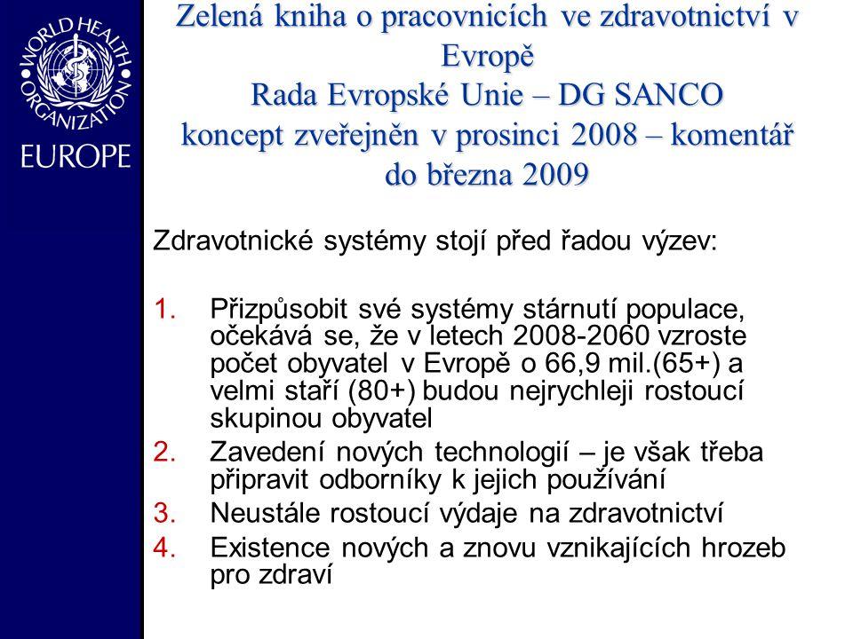 Zelená kniha o pracovnicích ve zdravotnictví v Evropě Rada Evropské Unie – DG SANCO koncept zveřejněn v prosinci 2008 – komentář do března 2009