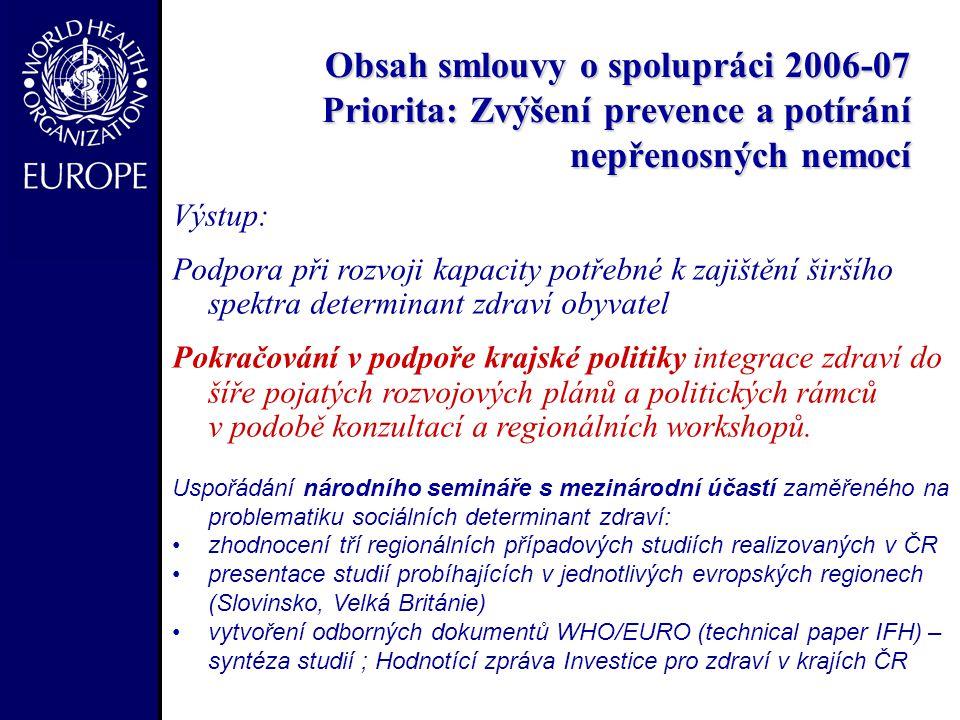 Obsah smlouvy o spolupráci 2006-07 Priorita: Zvýšení prevence a potírání nepřenosných nemocí