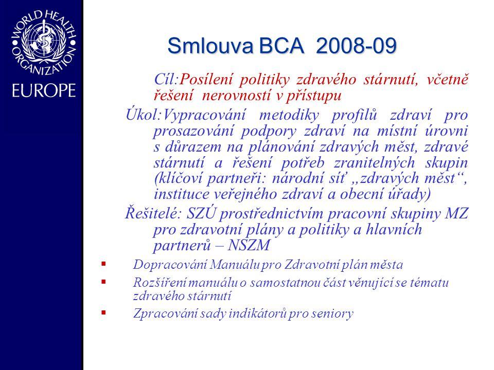 Smlouva BCA 2008-09 Cíl:Posílení politiky zdravého stárnutí, včetně řešení nerovností v přístupu.