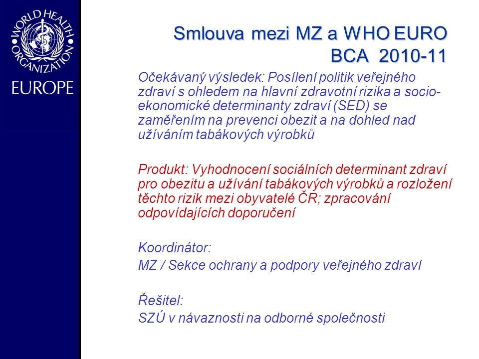 Smlouva mezi MZ a WHO EURO BCA 2010-11