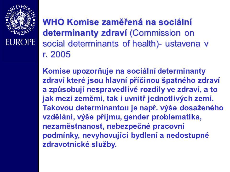 WHO Komise zaměřená na sociální determinanty zdraví (Commission on social determinants of health)- ustavena v r. 2005