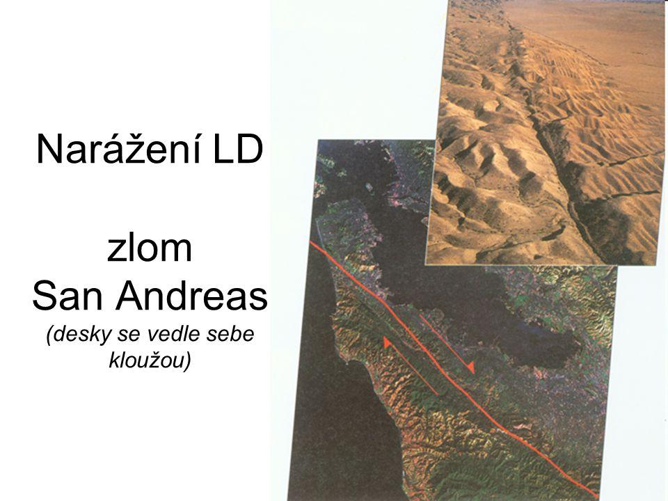 Narážení LD zlom San Andreas (desky se vedle sebe kloužou)