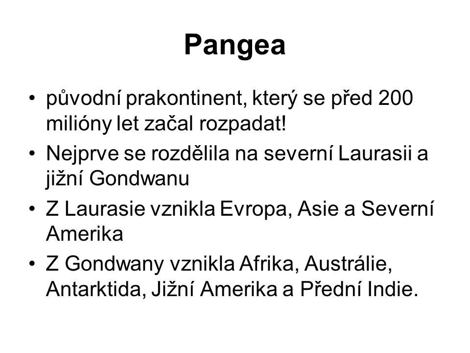 Pangea původní prakontinent, který se před 200 milióny let začal rozpadat! Nejprve se rozdělila na severní Laurasii a jižní Gondwanu.