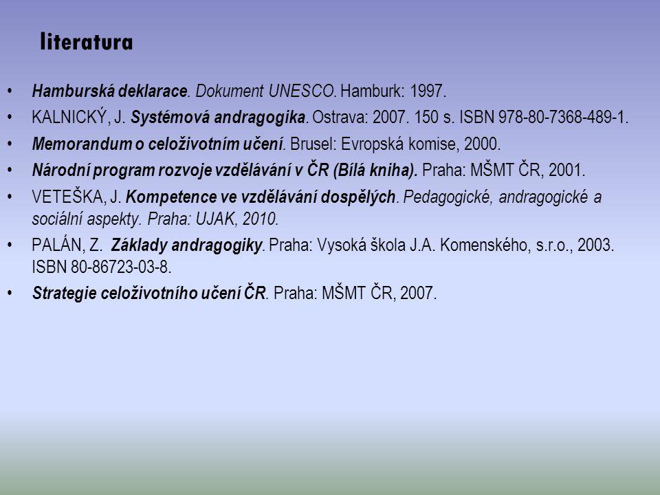 literatura Hamburská deklarace. Dokument UNESCO. Hamburk: 1997.