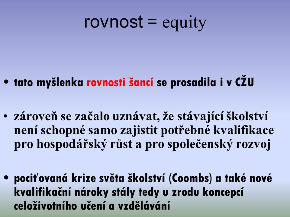 rovnost = equity tato myšlenka rovnosti šancí se prosadila i v CŽU