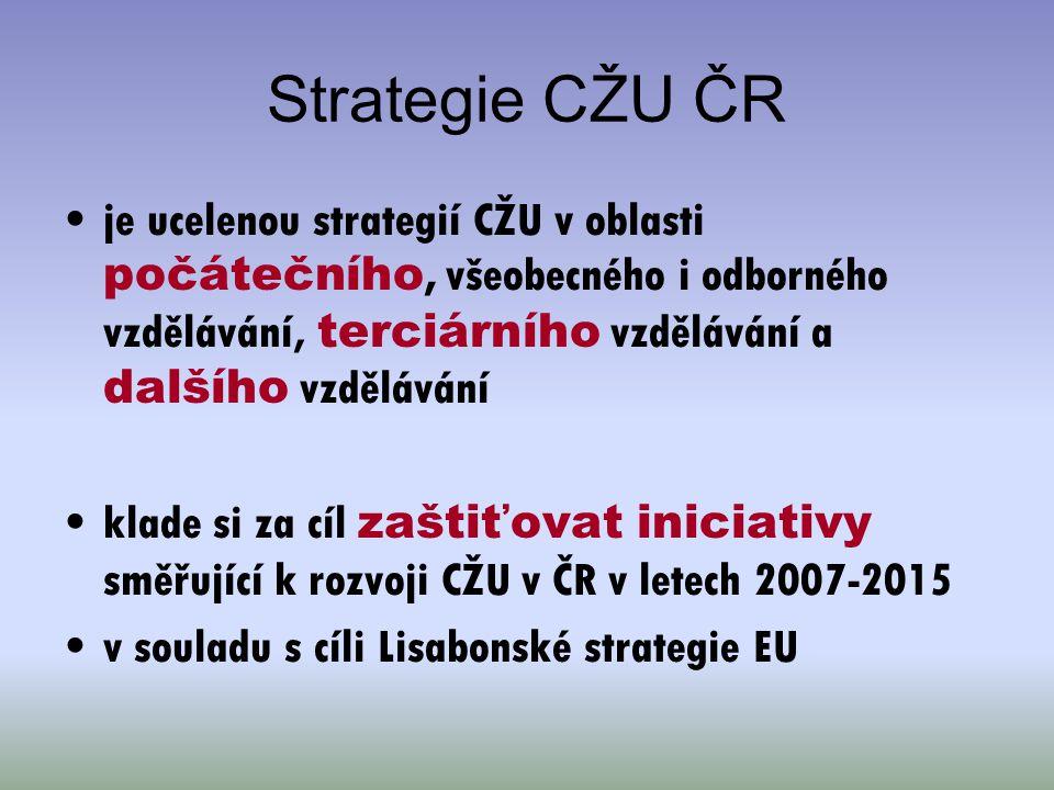 Strategie CŽU ČR je ucelenou strategií CŽU v oblasti počátečního, všeobecného i odborného vzdělávání, terciárního vzdělávání a dalšího vzdělávání.