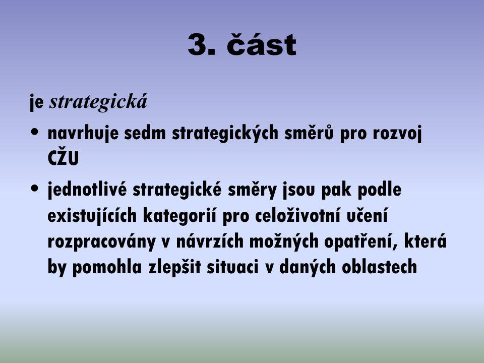 3. část je strategická. navrhuje sedm strategických směrů pro rozvoj CŽU.