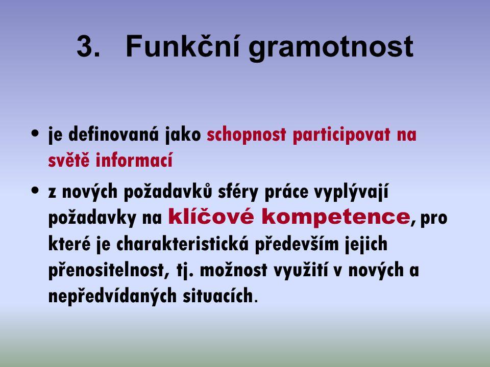 3. Funkční gramotnost je definovaná jako schopnost participovat na světě informací.