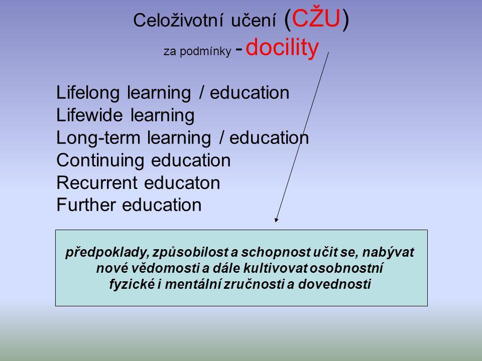 Celoživotní učení (CŽU) za podmínky - docility