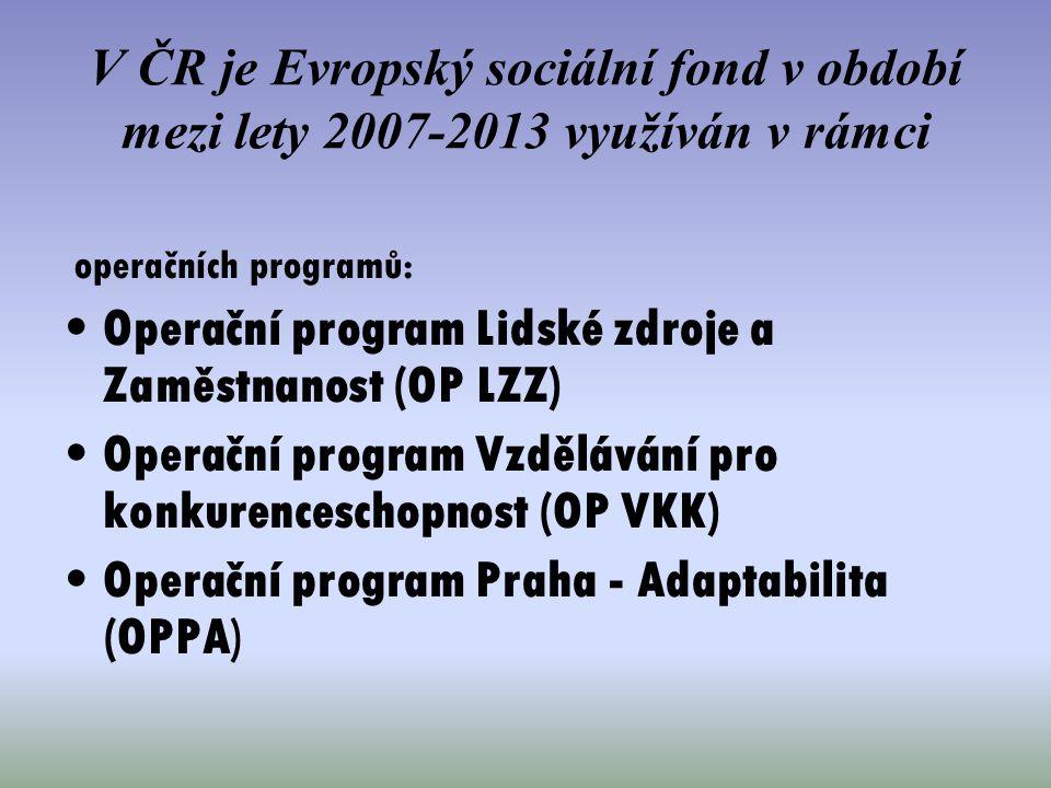 Operační program Lidské zdroje a Zaměstnanost (OP LZZ)