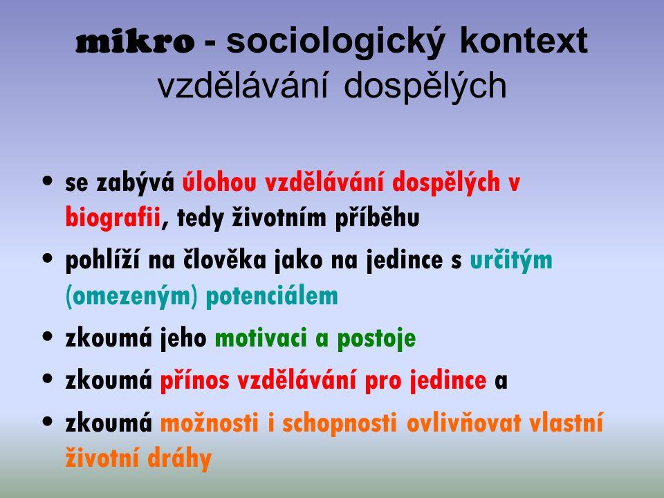 mikro - sociologický kontext vzdělávání dospělých