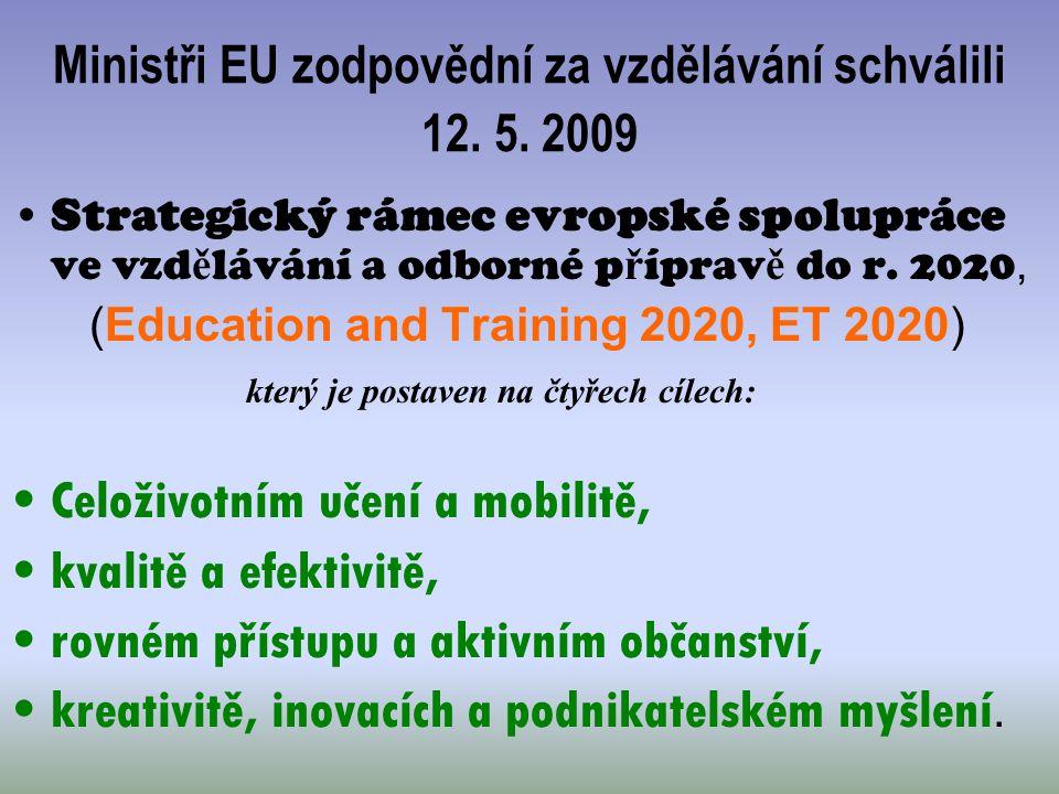 Ministři EU zodpovědní za vzdělávání schválili 12. 5. 2009