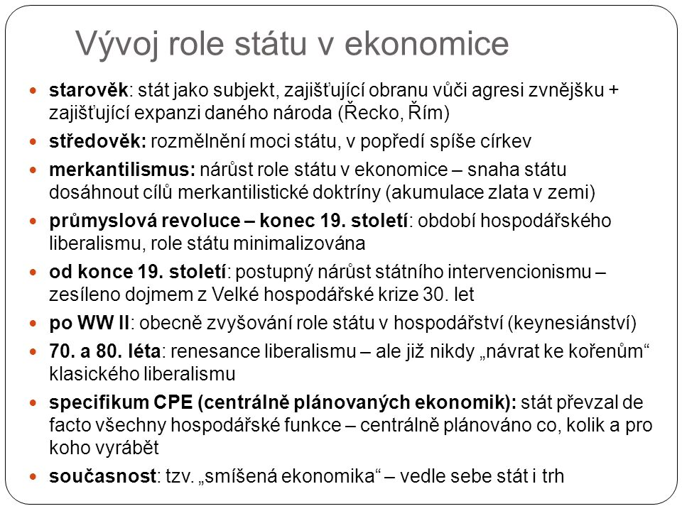 Vývoj role státu v ekonomice