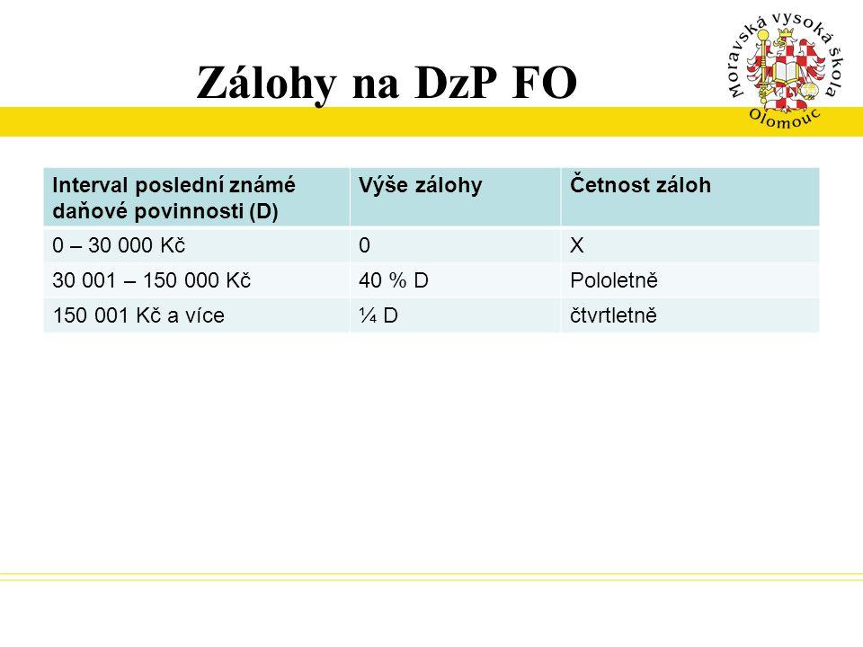 Zálohy na DzP FO Interval poslední známé daňové povinnosti (D)