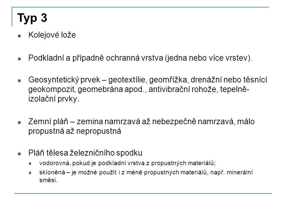 Typ 3 Kolejové lože. Podkladní a případně ochranná vrstva (jedna nebo více vrstev).