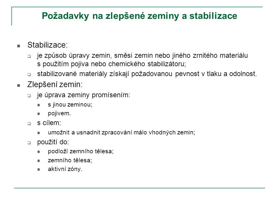 Požadavky na zlepšené zeminy a stabilizace