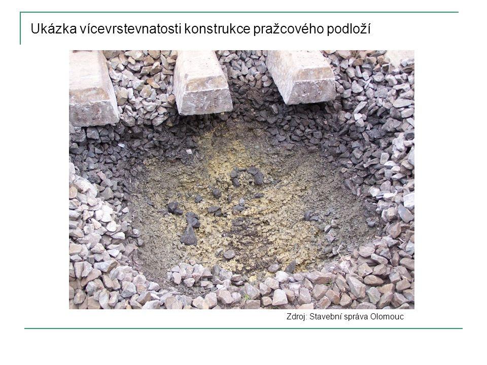 Ukázka vícevrstevnatosti konstrukce pražcového podloží
