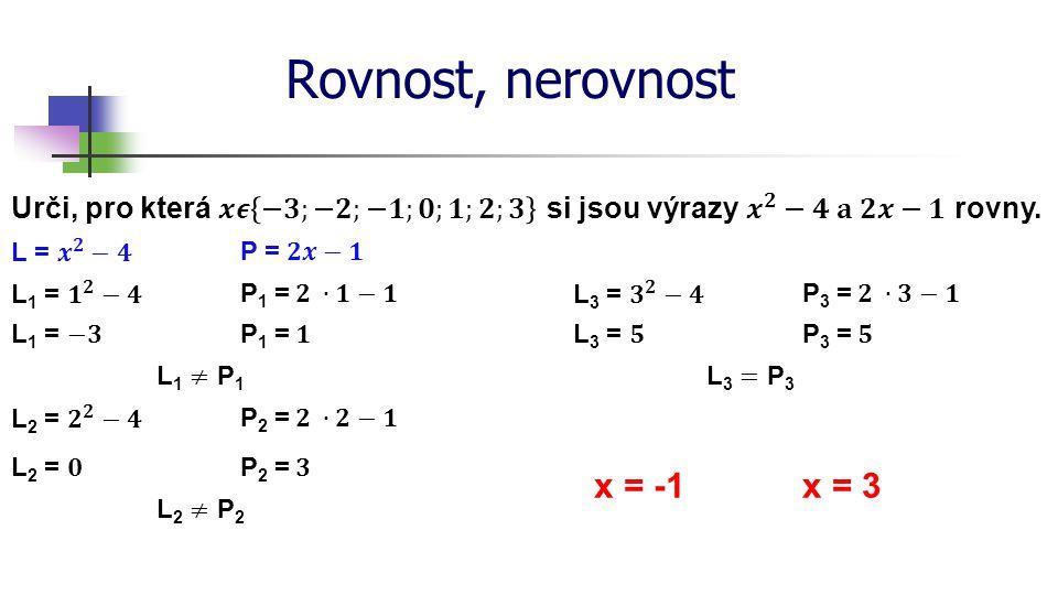 Rovnost, nerovnost x = -1 x = 3