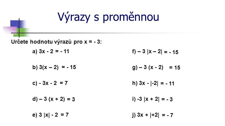 Výrazy s proměnnou Určete hodnotu výrazů pro x = - 3: a) 3x - 2 = - 11