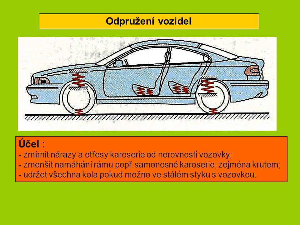 Odpružení vozidel Účel :