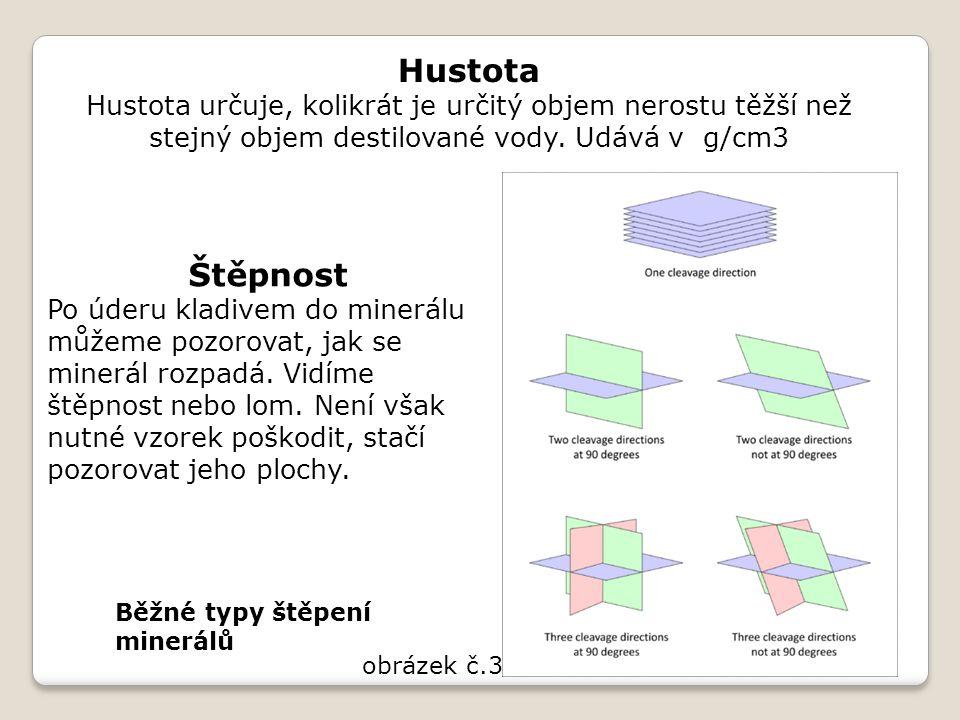 Hustota Hustota určuje, kolikrát je určitý objem nerostu těžší než stejný objem destilované vody. Udává v g/cm3.
