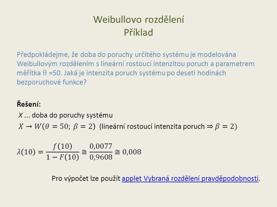 Weibullovo rozdělení Příklad