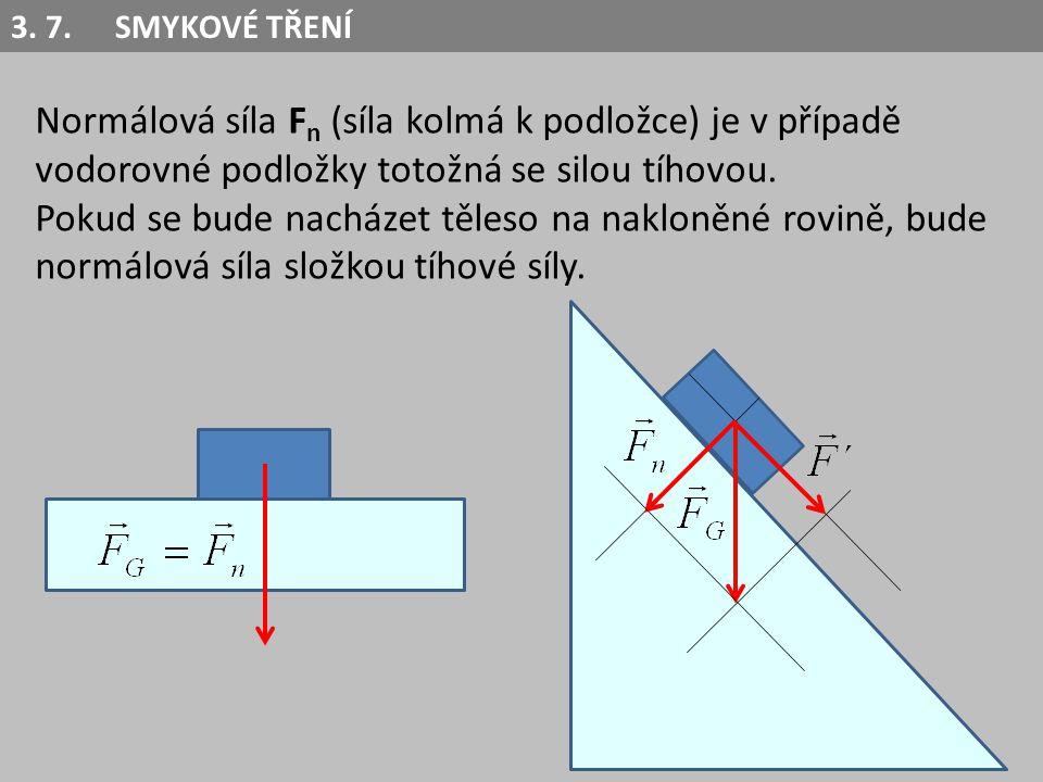 3. 7. SMYKOVÉ TŘENÍ Normálová síla Fn (síla kolmá k podložce) je v případě vodorovné podložky totožná se silou tíhovou.