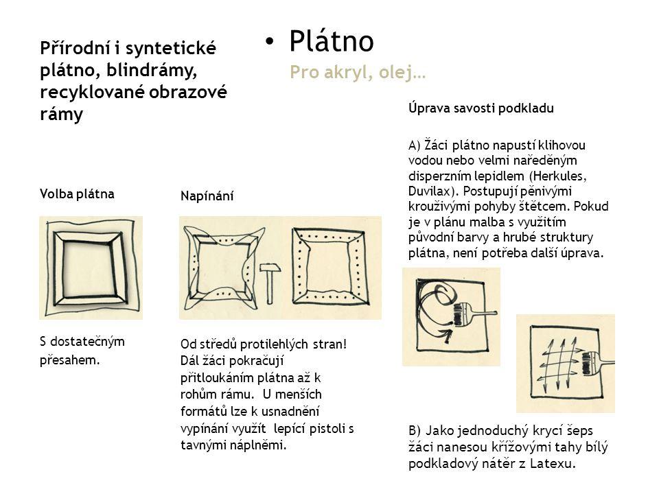 Přírodní i syntetické plátno, blindrámy, recyklované obrazové rámy