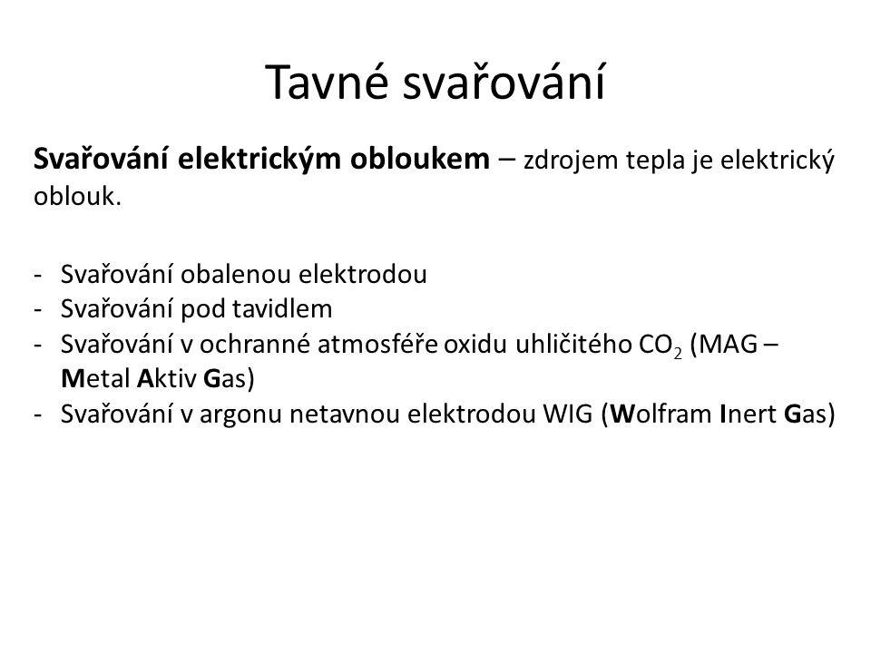 Tavné svařování Svařování elektrickým obloukem – zdrojem tepla je elektrický oblouk. Svařování obalenou elektrodou.