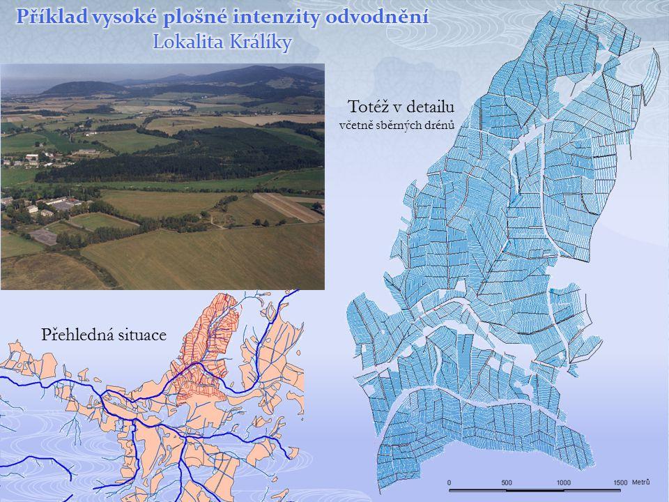 Příklad vysoké plošné intenzity odvodnění Lokalita Králíky